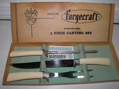 Vintage Forgecraft Stainless Steel 3-Piece Carving Set - New In Box