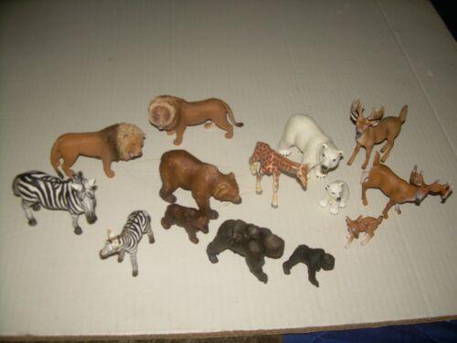 Schleich lot of 14 wild animals zebras lions giraffe bears fawn deer Polar Bear