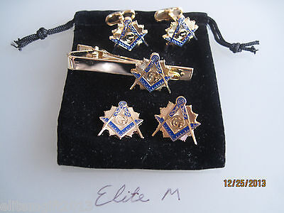 Masonic Master Mason  Cufflinks, lapel pin, Tie Clip, and Emblem. Gold Plated..