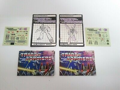 Barrage Venom G1 Transformers Insecticons Decal Sheets And Instruction Sheets