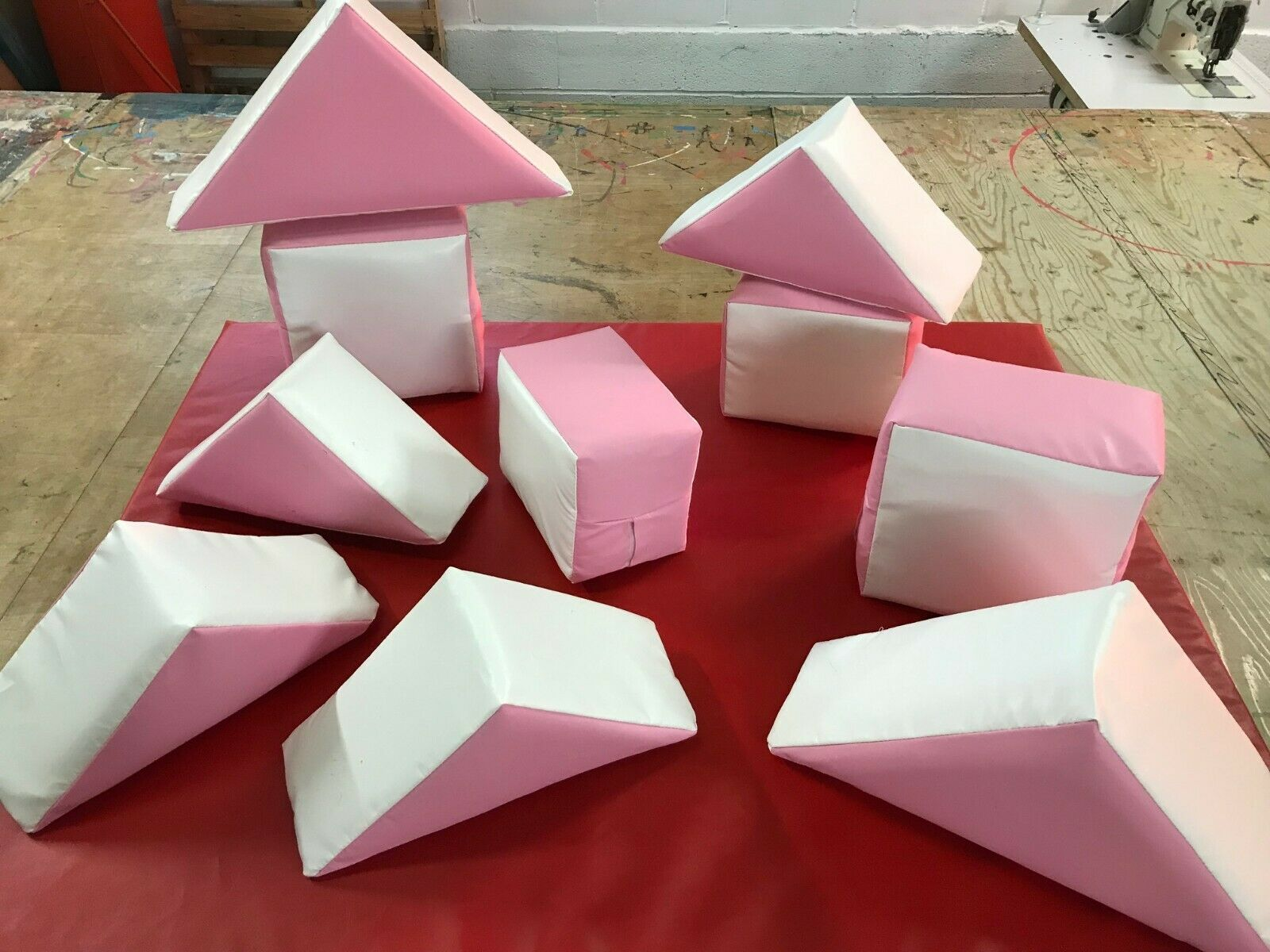 Pink / White Soft Play 10 Set with carry Bag