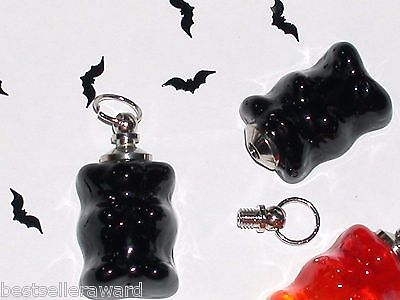 1pc Glass Black Gummy Bear BOTTLE pendant goth Witch vial necklace charm gift *~