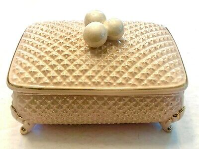 """1950s Hats: Pillbox, Fascinator, Wedding, Sun Hats 1950's Porcelain 4.5"""" Ornate Pink Footed Jewelry Box with Lid $13.00 AT vintagedancer.com"""