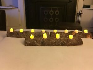 Rustic juniper candle holders and 9 wooden slabs