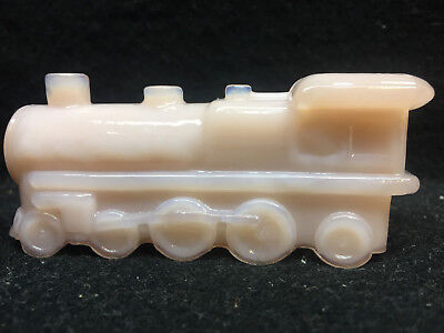 Pink milk Crown Tuscan glass train steam engine railroad car RR candy container