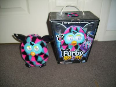 Hasbro Furby Boom 2012 Black/Pink/Blue Triangles Interactive Electronic Toy Pet