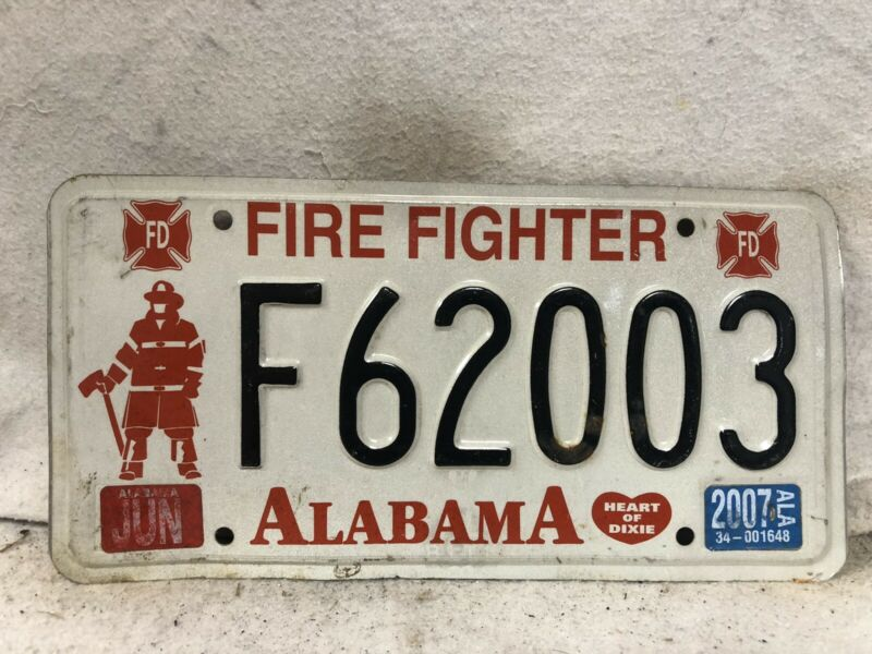 2007 Alabama Firefighter License Plate