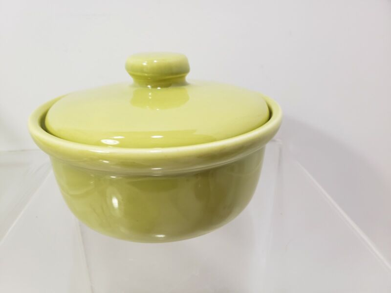 "Vintage Bauer Pottery Chartreuse Casserole Serving Dish 5"""