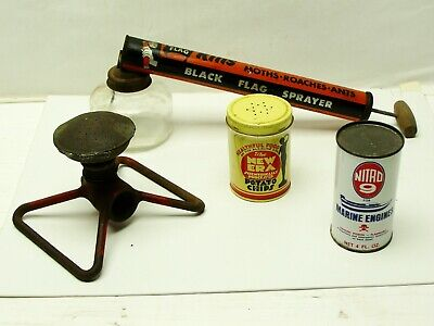 BLACK FLAG BUG SPRAYER GLASS JAR-METAL CYLINDER, SPRINKLER, TIN CANS NITRO 9