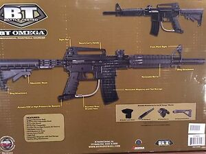 BT Omega paintball marker, with RipClip, and accessories