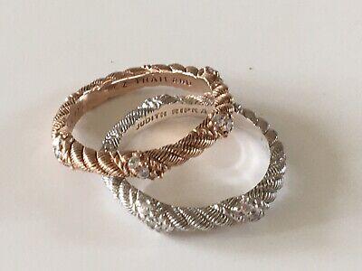 Judith Ripka Sterling Silver 18K Rose Clad Stacks Ring Band Sz 5.5 set of 2