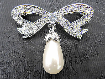 Deluxe Diamante and Pearl Bow Stock Pin - Dressage Show