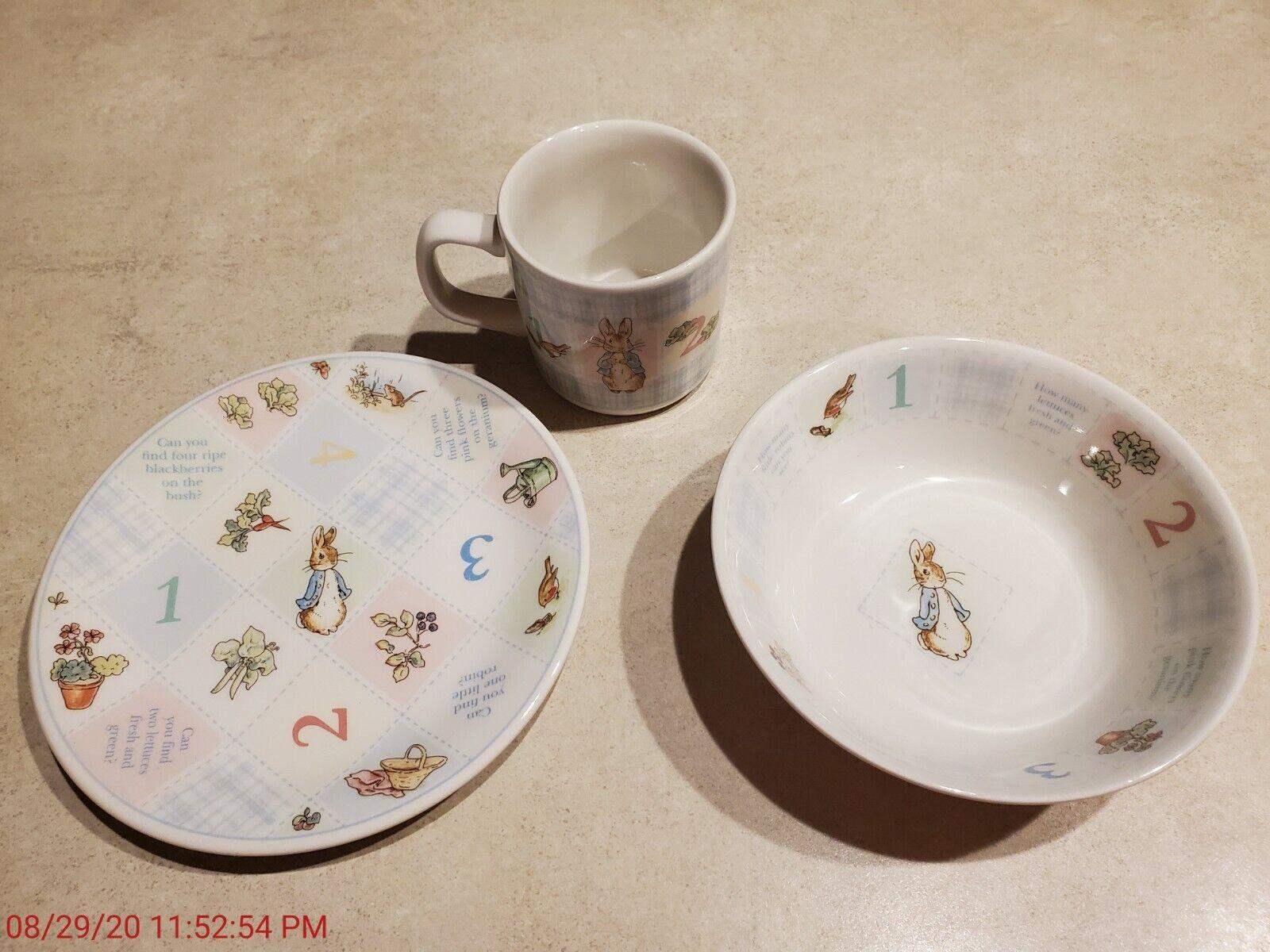 Vintage Peter Rabbit Child Bowl Cup Plate Set Wedgwood Frederick Warne  - $3.99