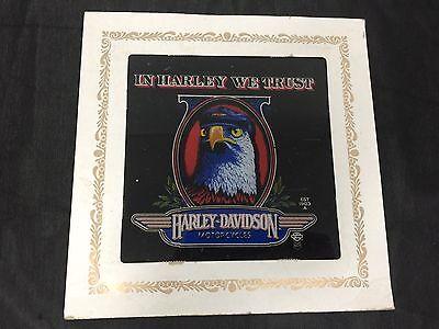 """Vintage Harley Davidson In Harley We Trust Framed Carnival Fair Prize 8"""" X 8"""""""
