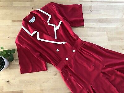 80s Dresses | Casual to Party Dresses Vtg 80s Does 30s Red Silk Dress Notched Lapel Short Sleeve Pockets SPORTING LIFE $32.00 AT vintagedancer.com