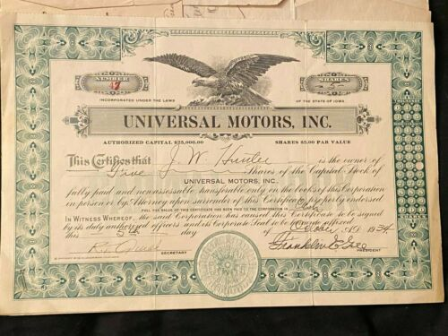 Stock certificate Universal Motors Incorporated with documents. 1934  Iowa