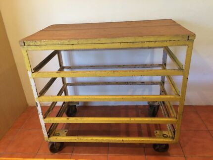 Portable metal workbench with wooden top