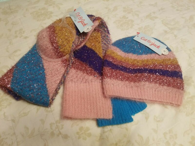 Girls scarf and hat (OSFM) brand Cat &Jack NWT multi color