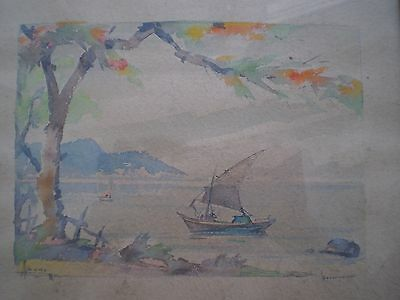 Drawing Antique Brasil Governador Watercolour Framed Sign Deco Painter Trip