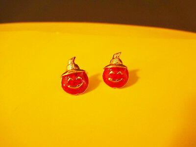 Vintage Avon Halloween Pumpkin Enamel Pierced Earrings