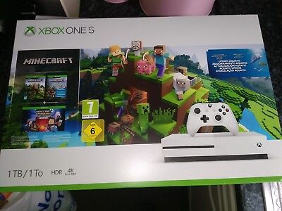 Xbox One S - 1TB -White Console , Minecraft Bundle -Brand New - Free UK Shipping