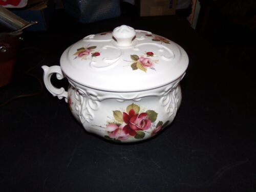 VINTAGE CHAMBER POT WITH LID PINK RED FLORAL ROSES DESIGN EMBOSSED