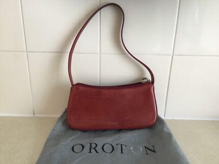 Oroton Las Red Handbag Small Authentic