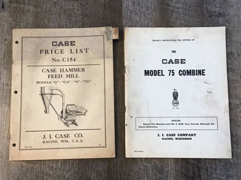 2 Case Manuals Price Lists 75 Combine Hammer Feed Mill
