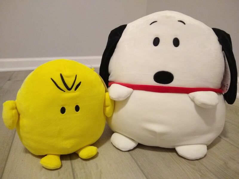 """New 12"""" Large Squishmallow Peanuts bundle Snoopy small 8"""" woodstock soft plush"""