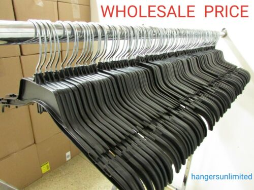 "Lot of 110 Black Plastic Adult Clothes Shirt Hangers 17"" wide"