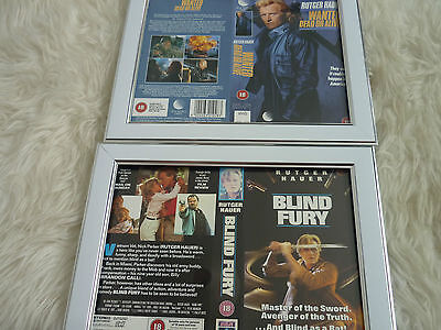 Rutger hauer Wanted dead or alive & Blind fury Cover Double Vhs sleeves Framed
