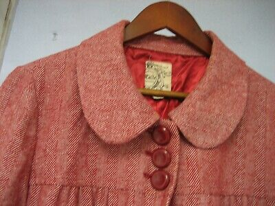 Vintage TULLE Original 'Jackie O-style' Swing coat jacket-XLG-red tweed & lined