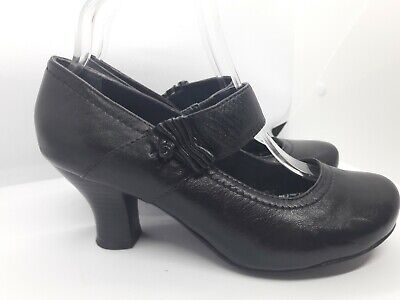Hush Puppies Black Leather Shoes Size 5 UK Farah EE Mary Jane Style Mid Heel