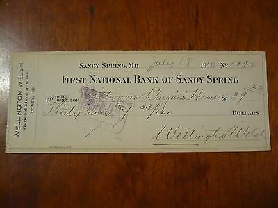 Antique Vintage 1910 First National Bank Sandy Spring Bank Check Wellingtonwelsh