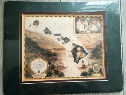 """Map Of The Sandwich Isles By Artist Cartographer Blaise Domino Print, 11"""" X 8"""""""