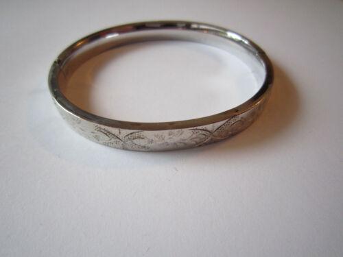 925 Sterling Silver Engraved Hinge Round Bangle Bracelet 12.5 Grams FM Co
