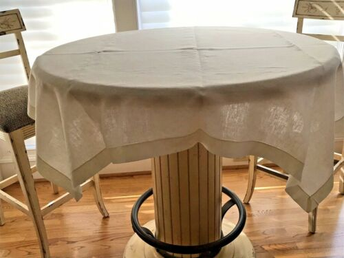 "50"" X 50"" LINEN TABLECLOTH SQUARE HEMSTICHED CREAM COLOR"