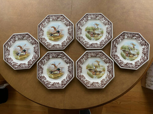 NEW Set of 6 - Spode Woodland Luncheon Plates Octagon Mallard & Wood Ducks