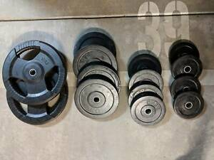 Rubber coated weight plates set (55kg) in good condition