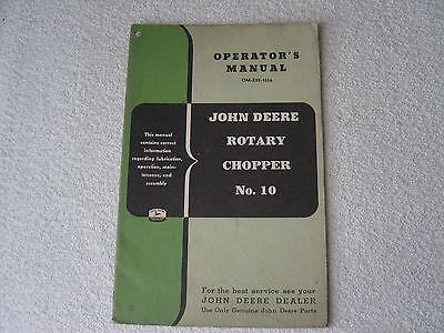 JOHN DEERE MODEL 10 ROTARY CHOPPER OPERATOR MANUAL