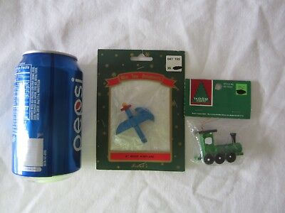 Miniature Wooden Plane & Train Christmas Ornaments Villages Mini Tree Holiday  for sale  Saint Charles