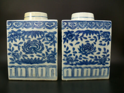 Pair Large Chinese Blue & White Porcelain Tea Caddies with Floral Scrolls 19th C