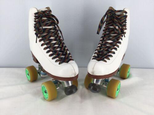 Vintage White Leather Riedell Roller Skates Women