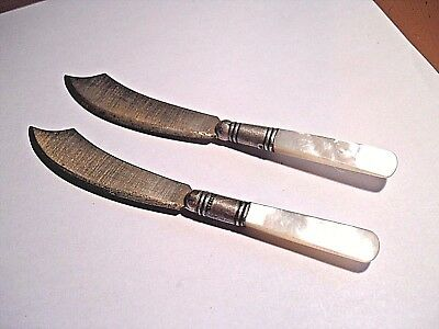 "LOT OF 2 OLD STERLING SILVER BOLSTER MOTHER OF PEARL HANDLES 5-1/2"" FRUIT KNIVES"