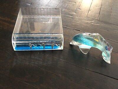 Vintage Water Dolphins Office Desk Organizer Drawer Caddy Paper Weight Organizer