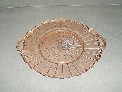 "JEANNETTE SIERRA PATTERN PINK DEPRESSION GLASS OPEN HANDLE 10-1/4"" SERVING TRAY"