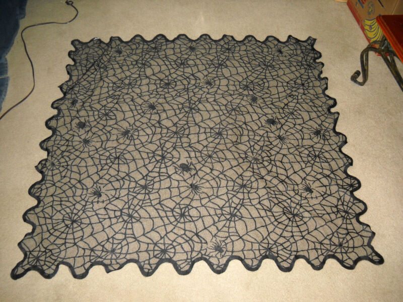 "BLACK SPIDER WEB TABLE COVER HALLOWEEN DECORATION PROP 54"" X 54"""