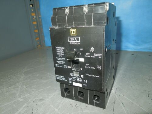 Square D Ejb34020 20a 3p 480v 50/60hz Circuit Breaker Used