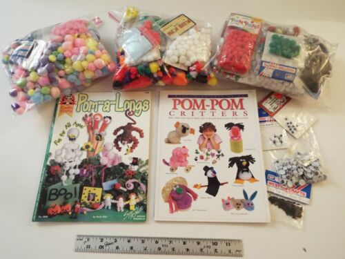 2800+ LOT-ASST-KID-CRAFTS POM POMS-BALL-BOOKS-POM-A-LONGS-CRITTERS-COLORS-SIZES*