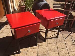 2 Red Timber Bedside Tables with Drawer Beckenham Gosnells Area Preview